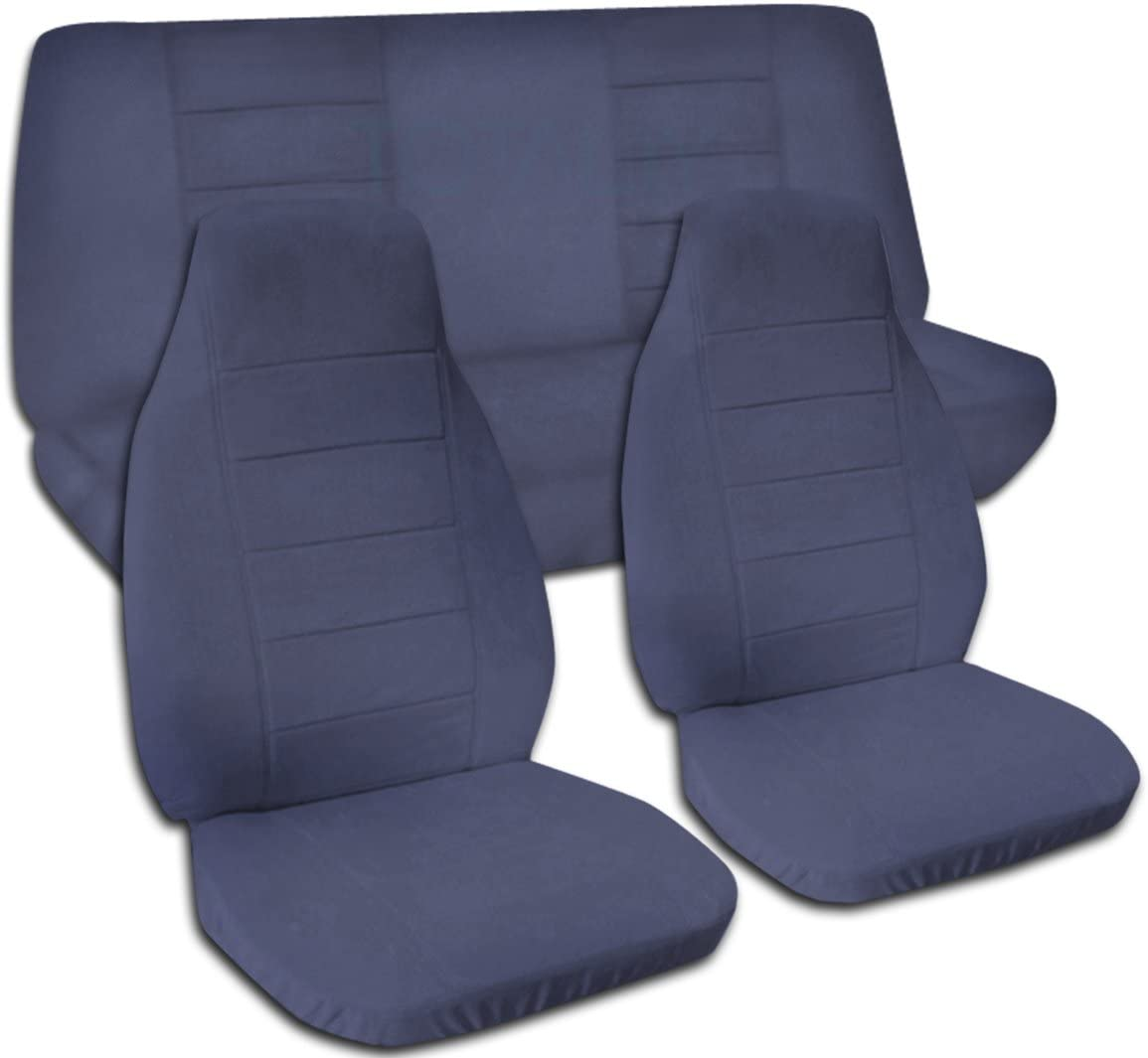 Totally Covers Solid Color Car Seat Covers: Blue Gray - Universal Fit - Full Set - Front Buckets & Rear Bench - Option for Airbag/Seat Belt/Armrest/Release/Lever/Split Compatible