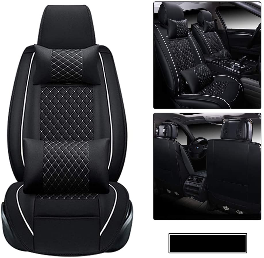 Car Seat Covers fit for Toyota Tundra 2000-2010 with Waterproof PU Leather for 2 Front Seats Car Seat Protector - with Headrest and Lumbar Cushion Black and White
