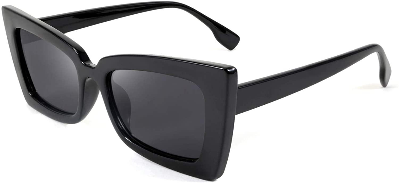 FEISEDY Vintage Small Sunglasses Rectangle Frame Retro Cateye Sunglasses for Women Men B2633