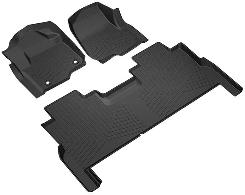 GaofeiLTF Floor Mats for 2017-2020 Ford F250 / F350 Super Duty Crew Cab Front & 2nd Seat All-Weather Protection Car Mats - Matte Black