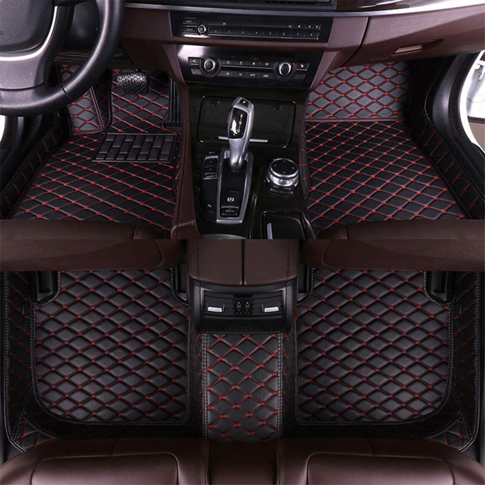 Maite Custom Car Floor Mat Fit for Toyota Camry 2018-2019 Full Surrouded XPE Leather Waterproof Carpets Mats Black Red