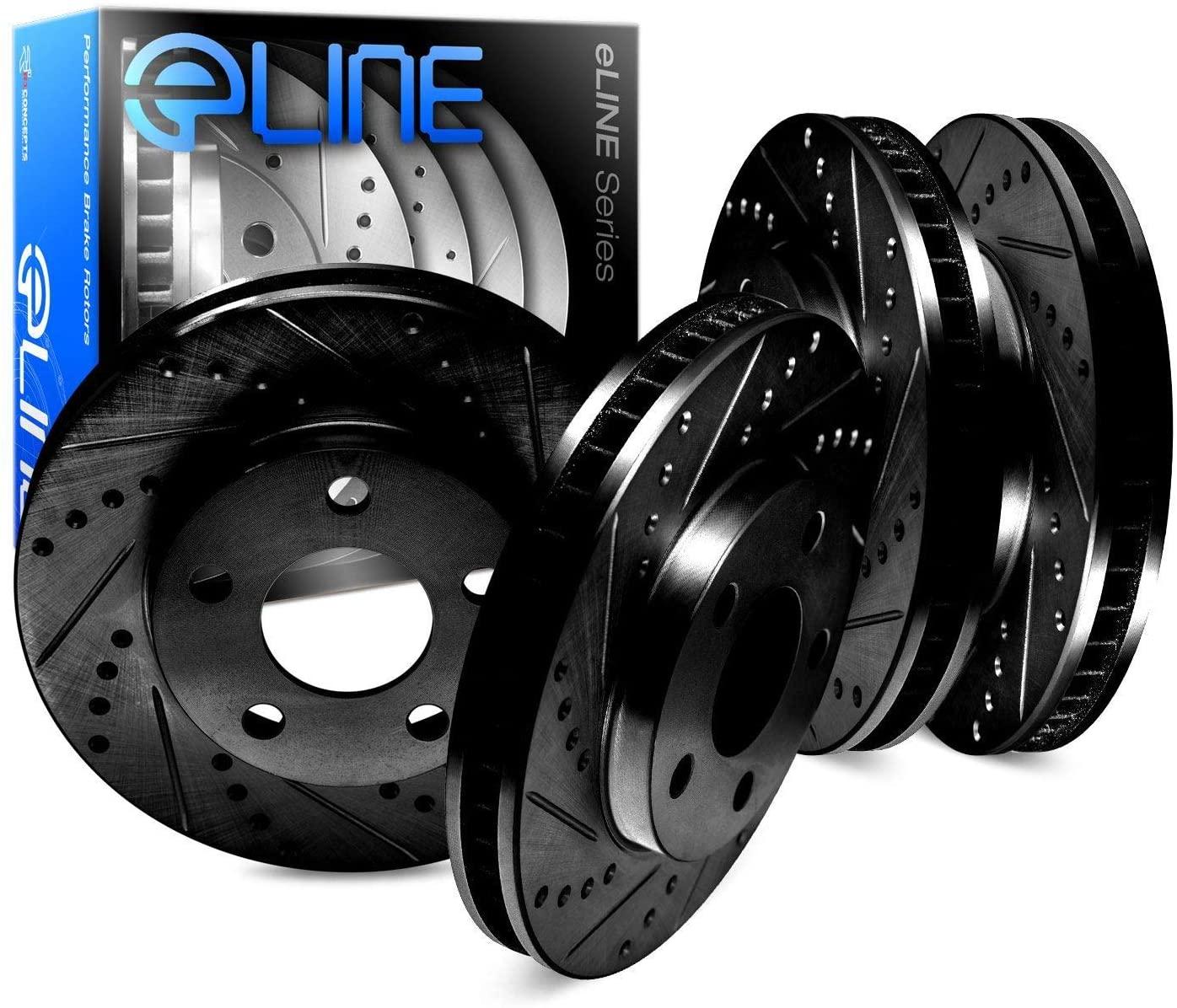 For 2004-2008 Chevrolet,Suzuki,Optra,Forenza,Reno R1 Concepts eLine Front Rear Black D/S Brake Rotors Kit