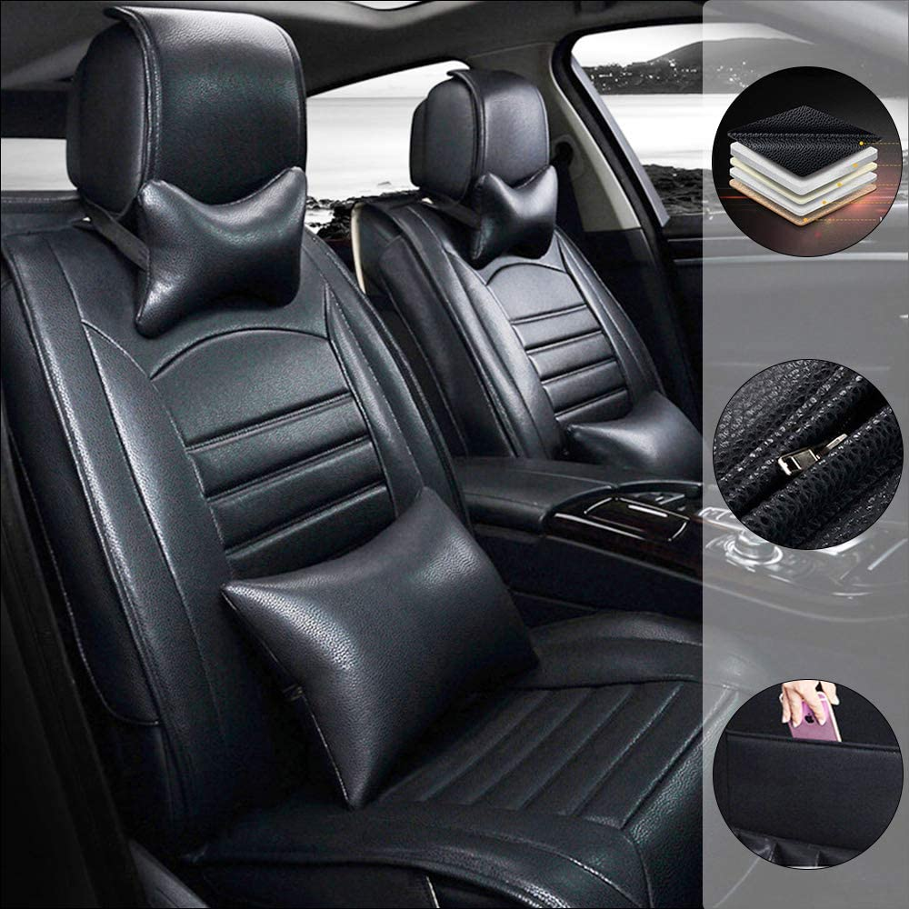 Car Seat Cover for Honda Envix 5-Seats Protection Soft Waterproof Full Set PU Leather Car Front+Rear Seat Pads Black Luxury 9PCS