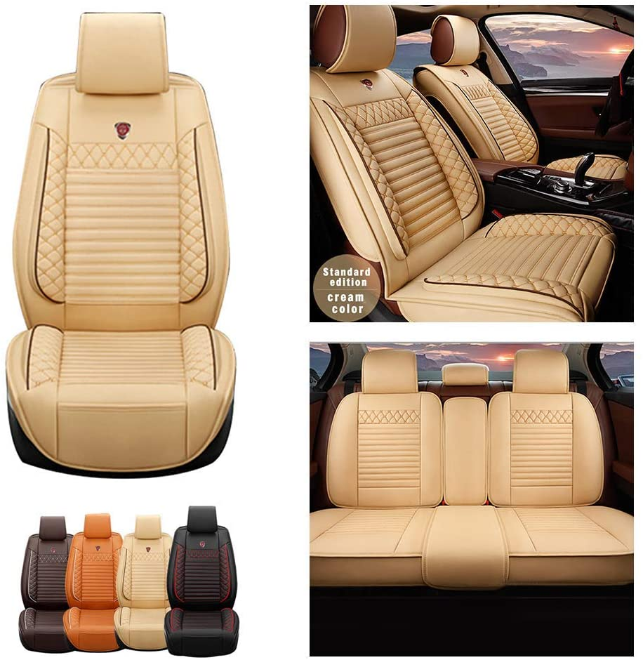 Jiahe Car Seat Covers for Toyota Prius 2001-2015 5seat Full Set Seat Protector Artificial Leather,Front & Rear Set Universal Beige