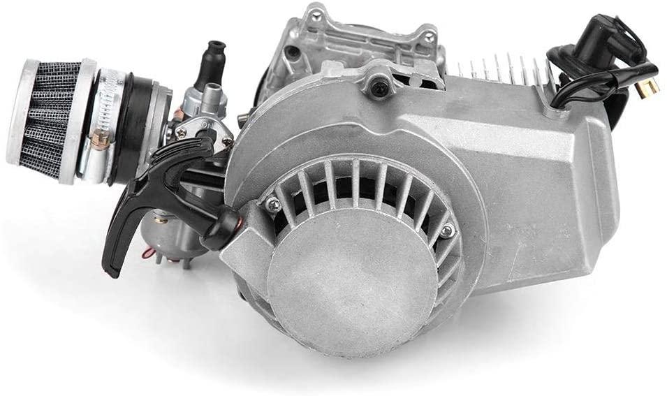 Qiilu 2 Stroke Engine Motor, 47CC 49CC Aluminum Alloy Pull Start Engine Motor Pocket for MINI Quad Bike Scooter ATV