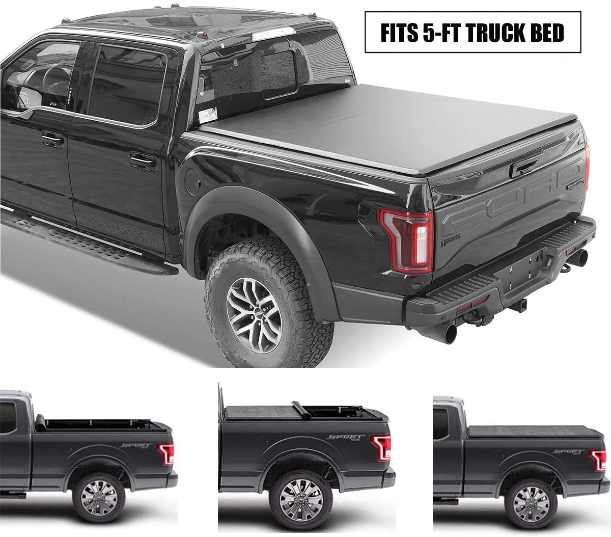 Gevog Soft Roll-Up Truck Bed Tonneau Cover Assembly for 2015-2020 Chevrolet Colorado GMC Canyon 5' (61.7