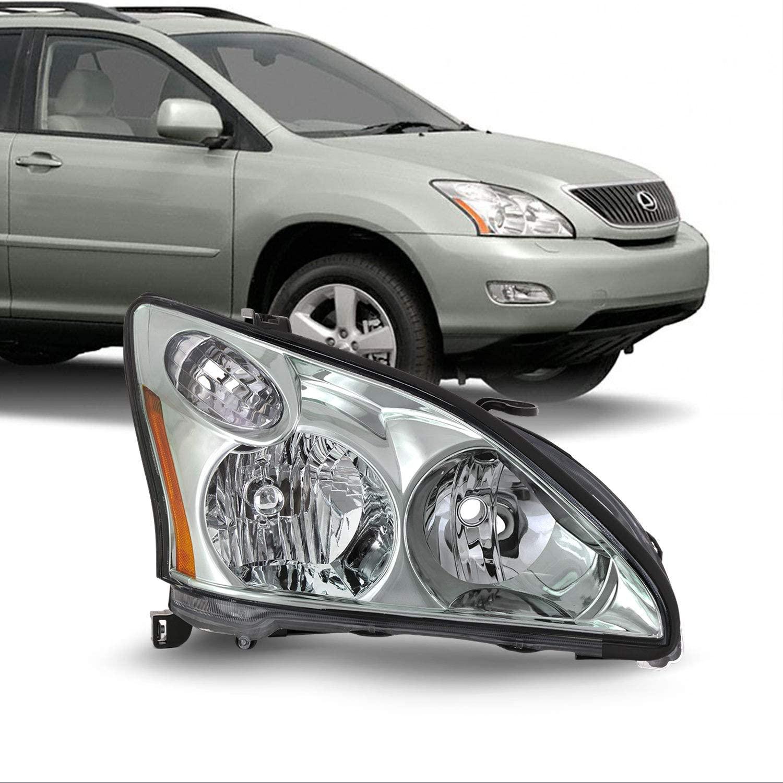 Fits 2004-2006 Lexus RX330 2006-2009 RX350 2006-2008 RX400h [Halogen Type] Headlight Chrome Headlamp Passenger Right RH