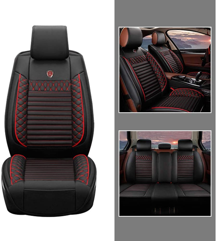 All Season Leather Seat Covers Full Set for Tesla Model 3 Model X Model S Car Front + Rear Row Seat 3D Protection Breathable & Comfortable Black red