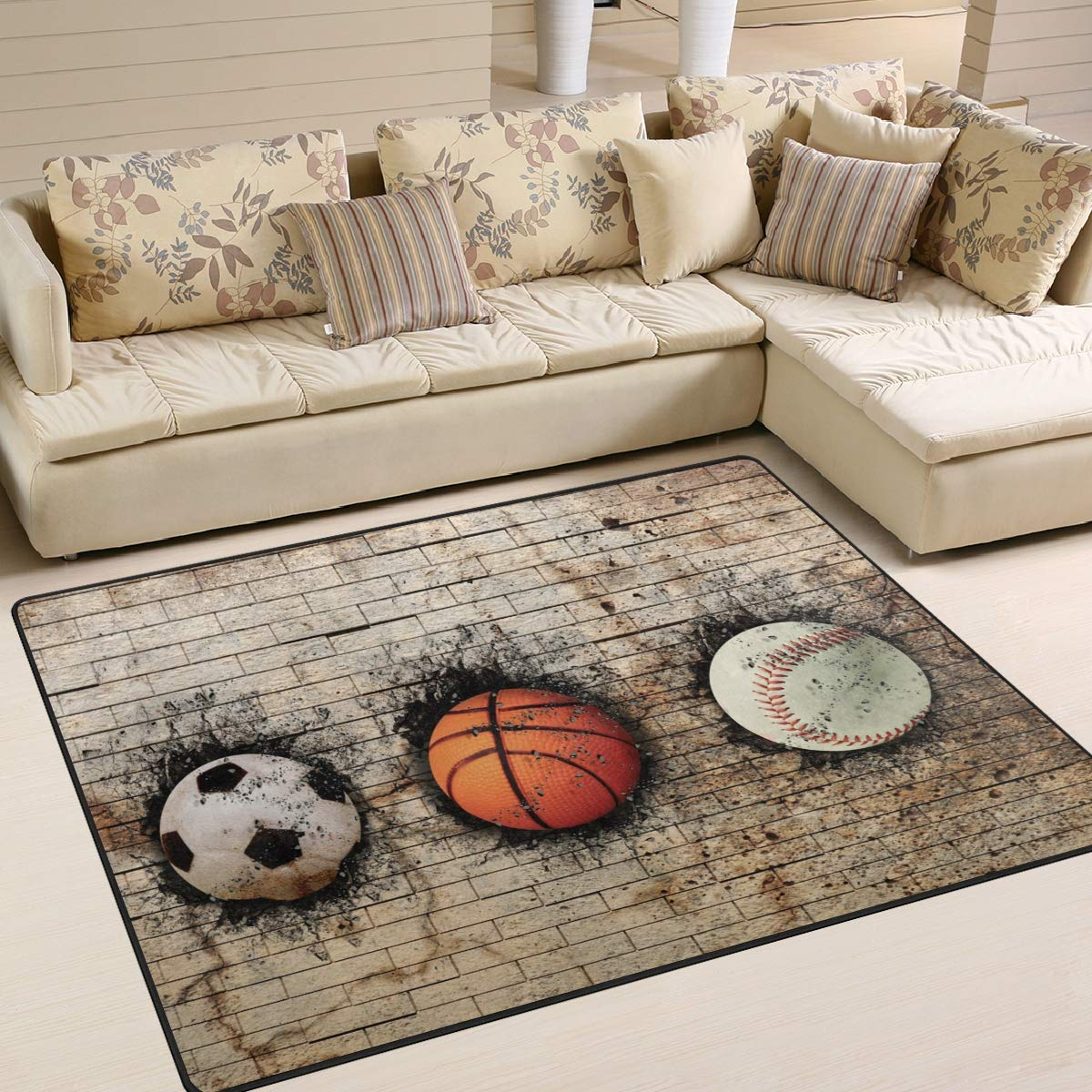 ALAZA Basketball Football Volleyball Hitting Wall Kids Area Rug, Non-Slip Floor Mat Soft Resting Area Doormats for Living Dining Bedroom 5' x 7'