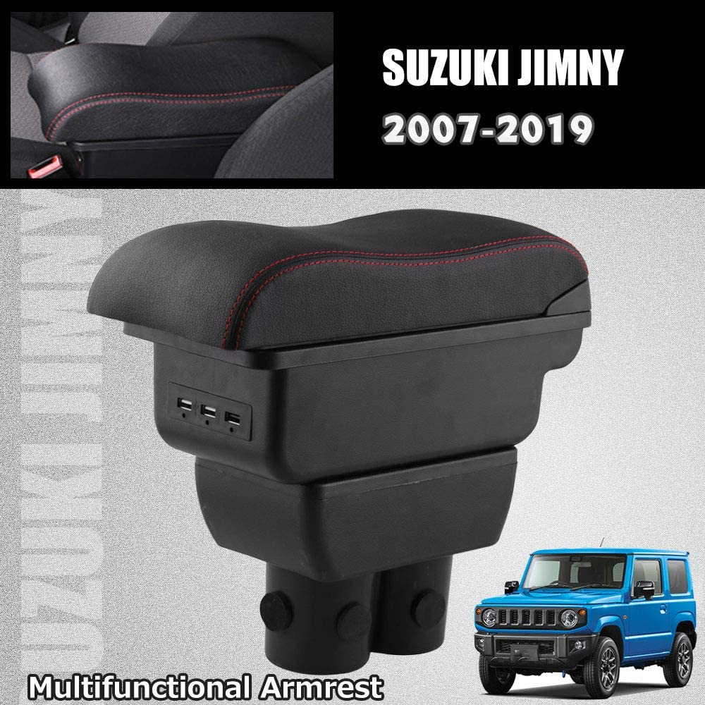 Ruien Arm Rest Rotatable Leather Center Console Storage Box Armrest Box for for Suzuki Jimny 2007-2019