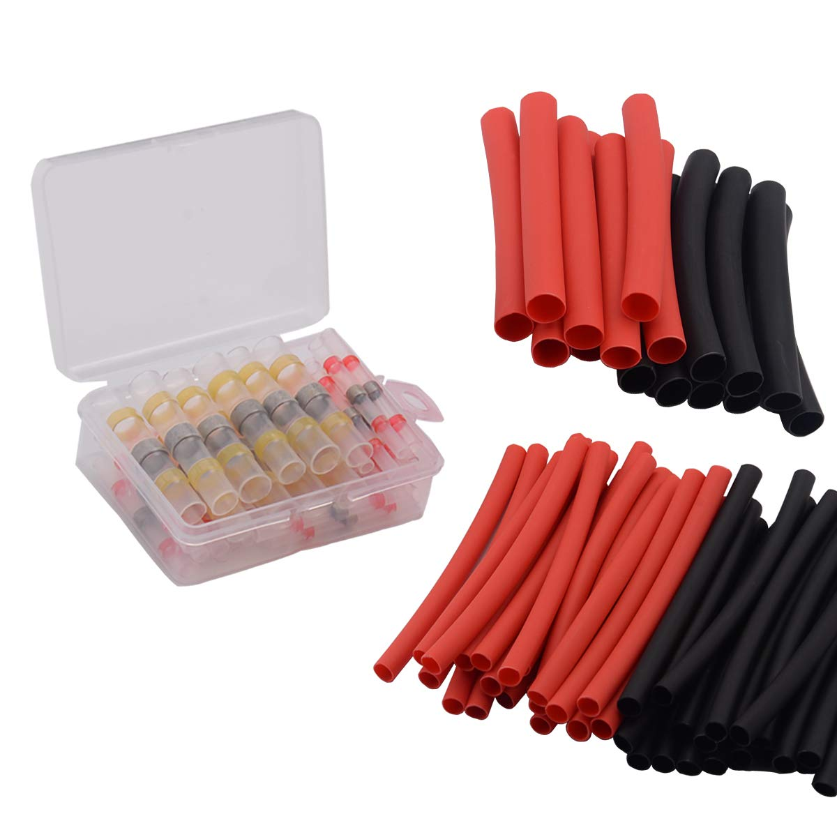 50pcs Solder Seal Heat Shrink Butt Connectors Terminals and 60pcs 3:1 Solder Heat Shrink Tubing, Waterproof Electrical Wire Connectors Kit Fits 12-10, 22-18, 16-14 AWG Wire, by Brightfour