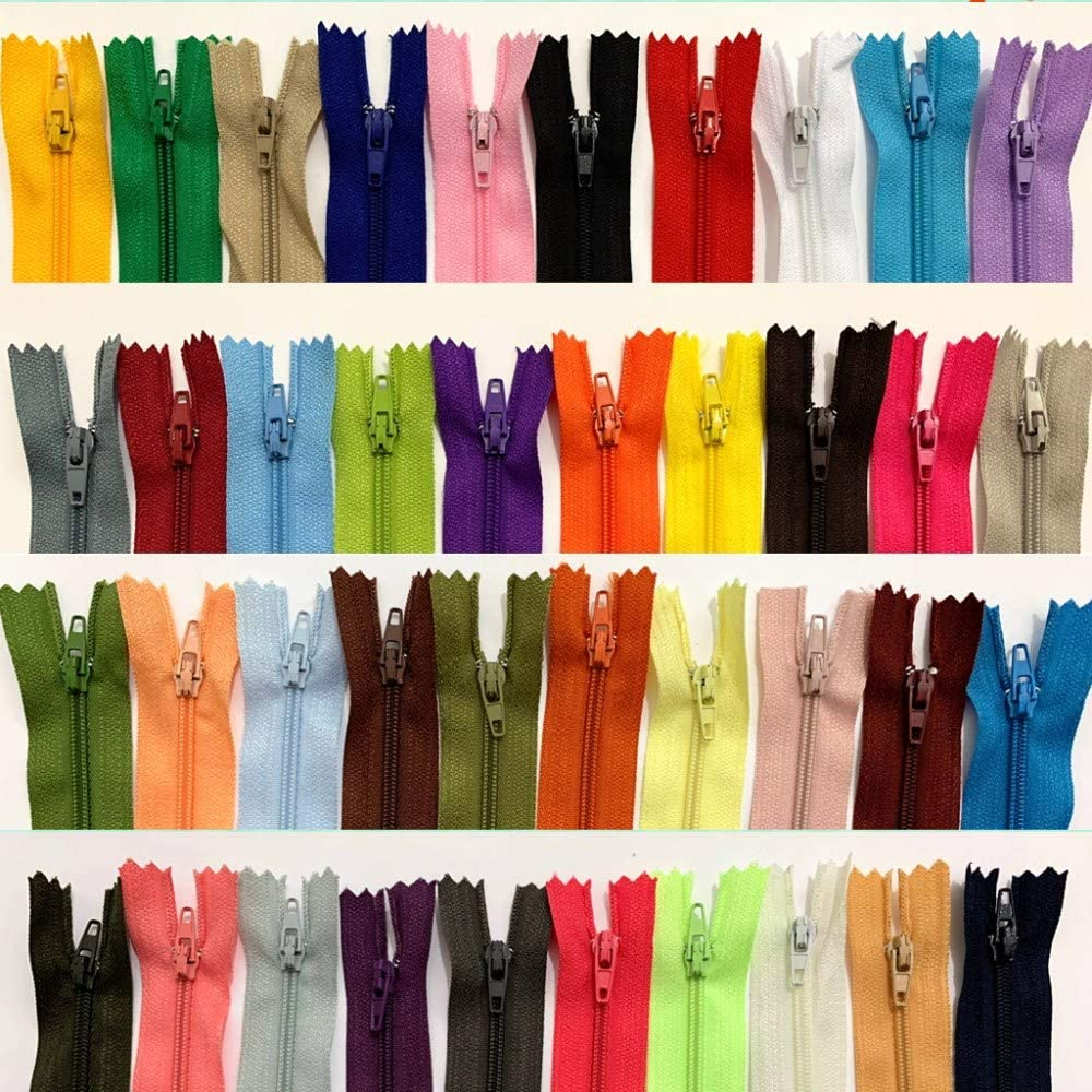 WKXFJJWZC 50pcs 16 Inch (40cm) Nylon Coil Zippers Bulk for Sewing Crafts 40 Color (16 inch)
