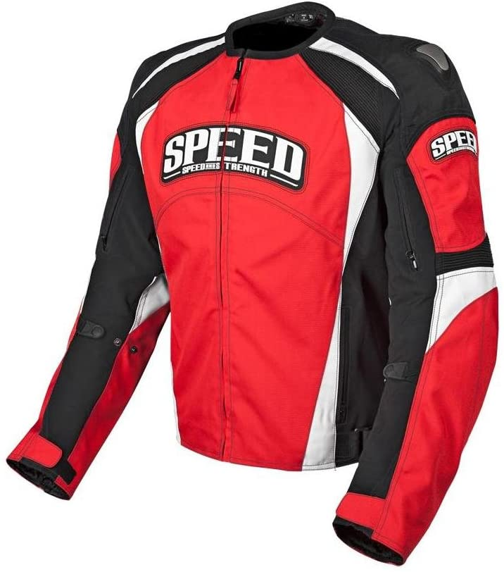 Speed and Strength Twist of Fate 3.0 Men's Motorcycle Textile Jacket (Red/Black, X-Large)