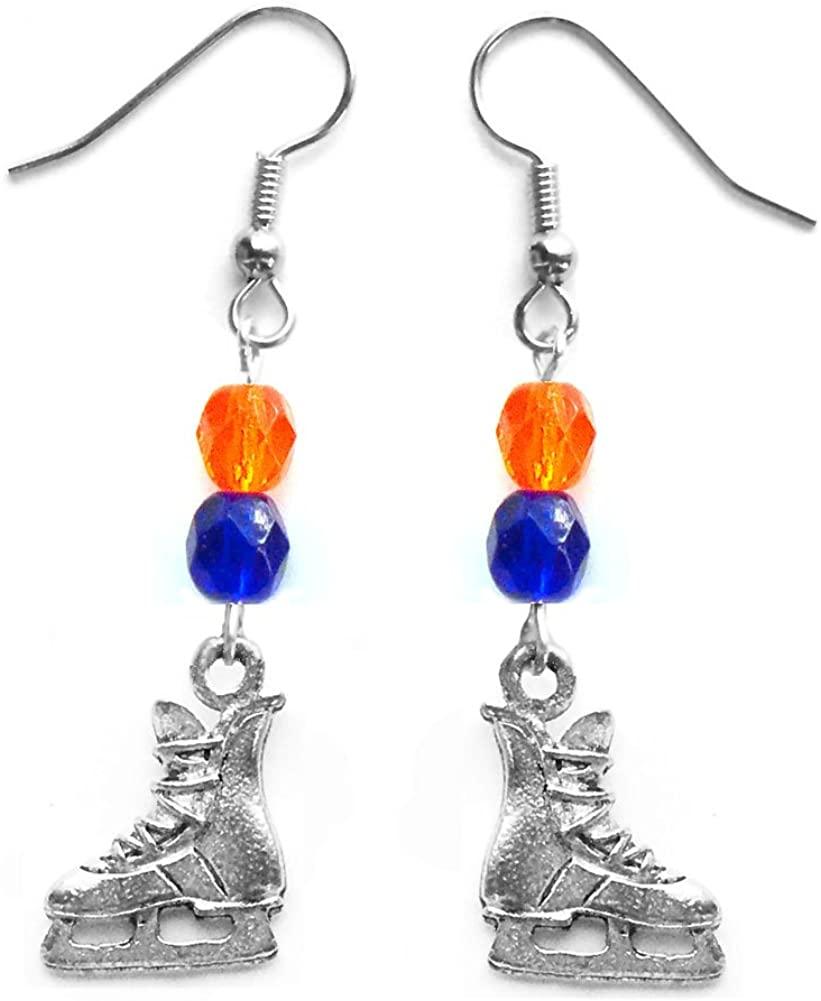 Edge Sports Hockey Skate Hockey Earrings (Team Colors Orange & Royal Blue)