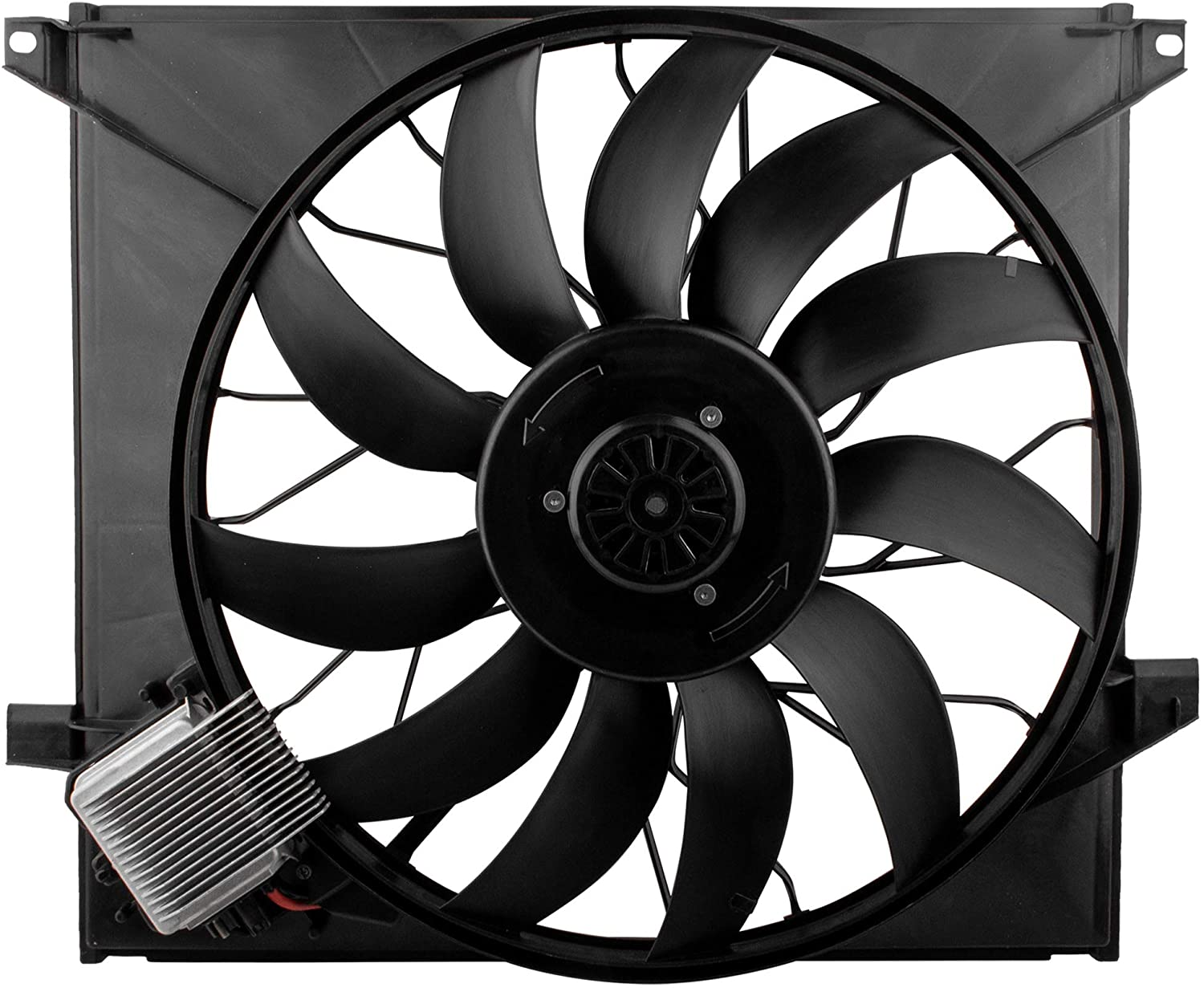 BOXI Radiator Brushless Cooling Fan Assembly Compatible with 2000 2001 2002 2003 Mercedes Benz W163 ML55 AMG (Replaces # 1635000293)