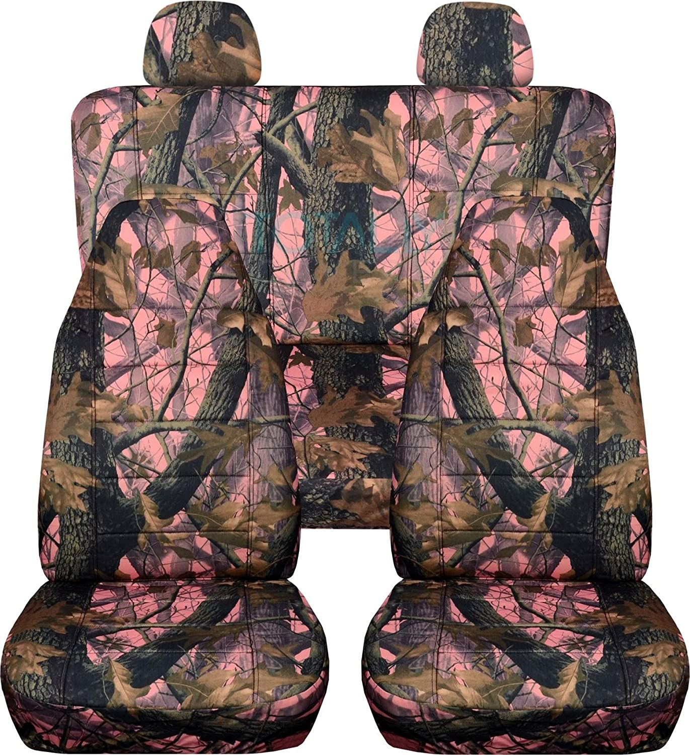 Totally Covers Camouflage Car Seat Covers w 2 Rear Headrest: Pink Tree Camo Universal Fit Full Set Front Buckets & Rear Bench Option for Airbag/Seat Belt/Armrest/Release/Lever/Split Compatible