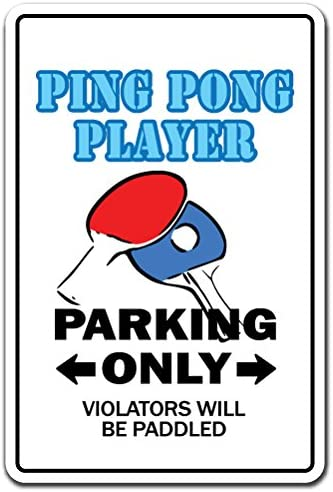 PING Pong Player Sign Table Tennis Ball Paddle Team Champion Champ   Indoor/Outdoor   12