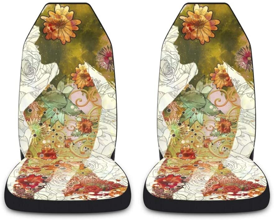 CUXWEOT Floral Woman Car Seat Covers for Front Set of 2 Vehicle Seat Protector Car Pet Mat Fit Most Car,Truck,SUV,Van