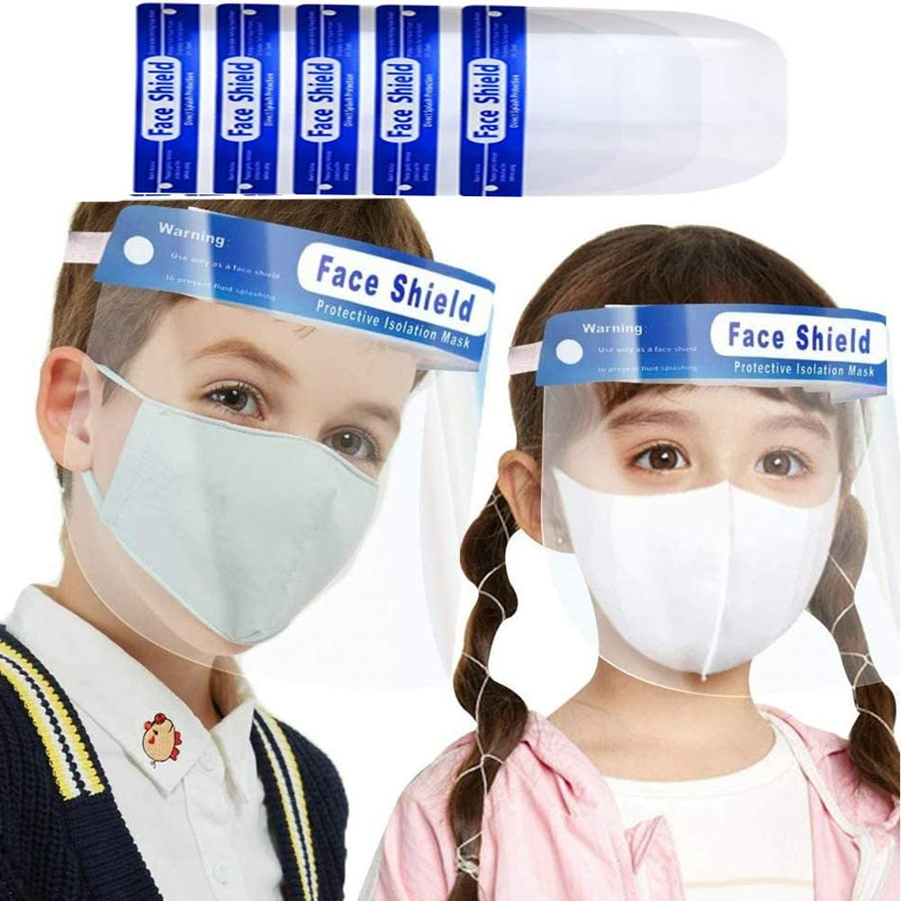 Protective Face Shield for Childs Waterproof Dustproof Full Face Shield with Clear Wide Visor, Reusable Safety Plastic Face Shield 5 PCS