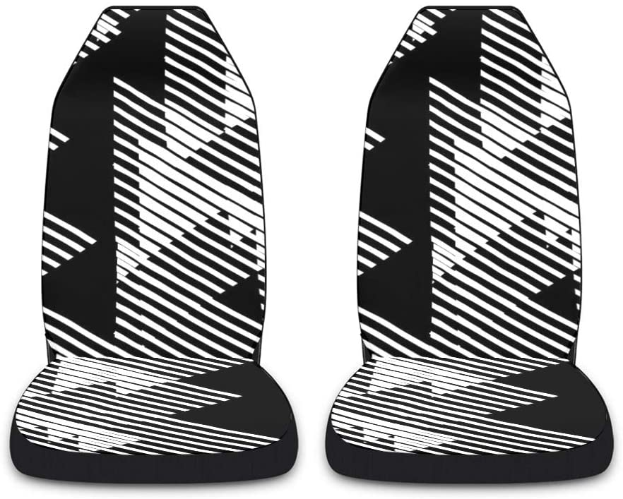 CUXWEOT Black White Triangle Car Seat Covers for Front Set of 2 Vehicle Seat Protector Car Pet Mat Fit Most Car,Truck,SUV,Van