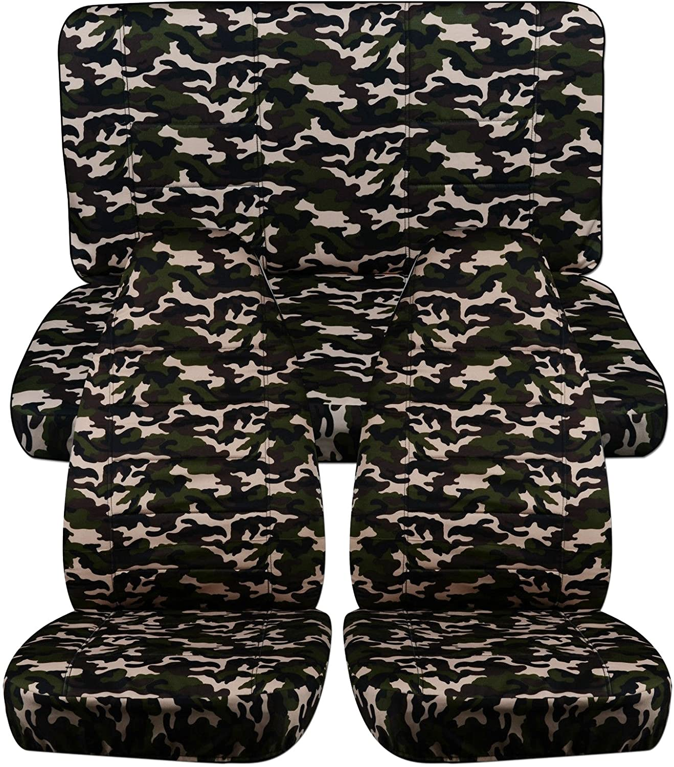 Totally Covers Compatible with 1997-2006 Jeep Wrangler TJ Camo Seat Covers: Brown Camouflage - Full Set: Front & Rear (19 Prints) 2-Door Complete Back Bench