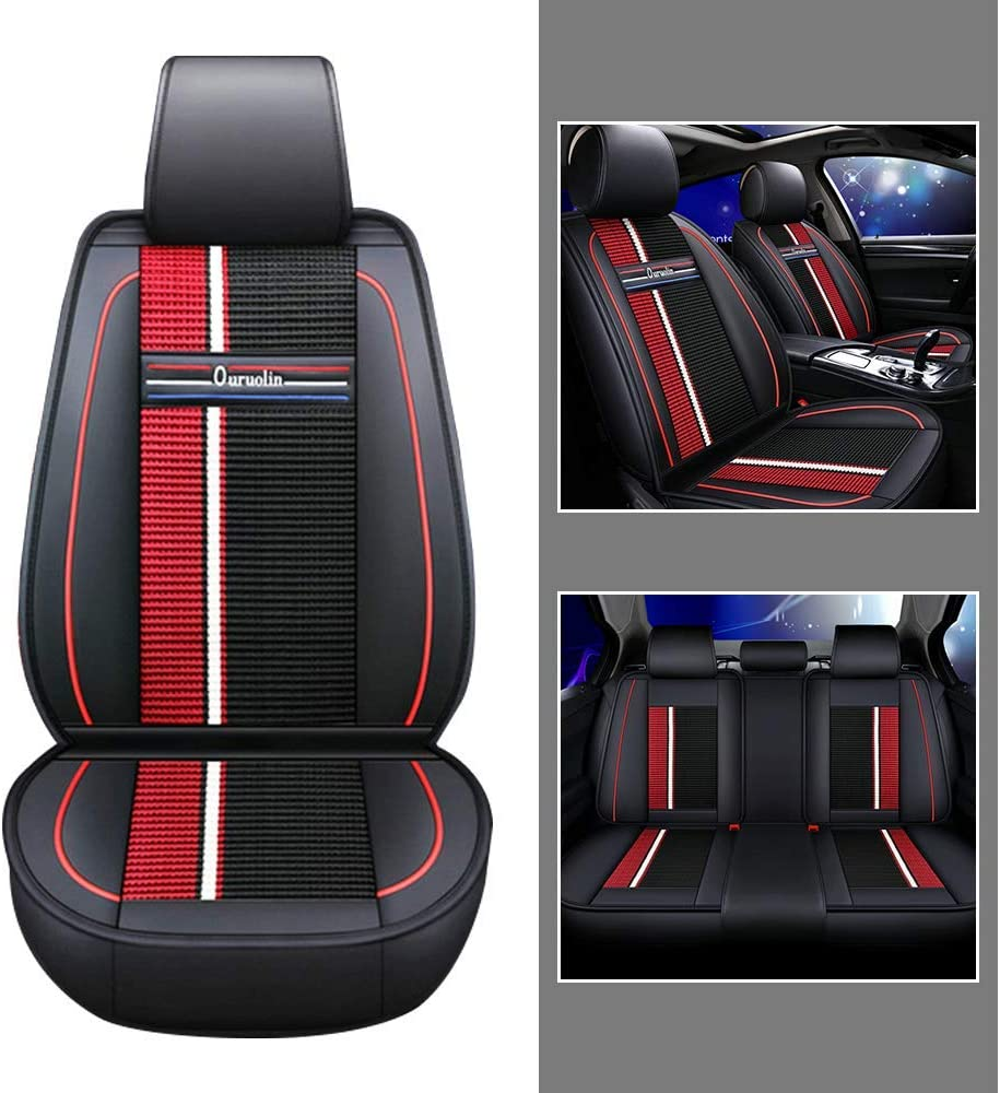 Upgraded Leather Car Seat Covers Set for Honda Passport Breathable and Anti-Slip All-Season Seat Protector Fit 5 Seats Black red