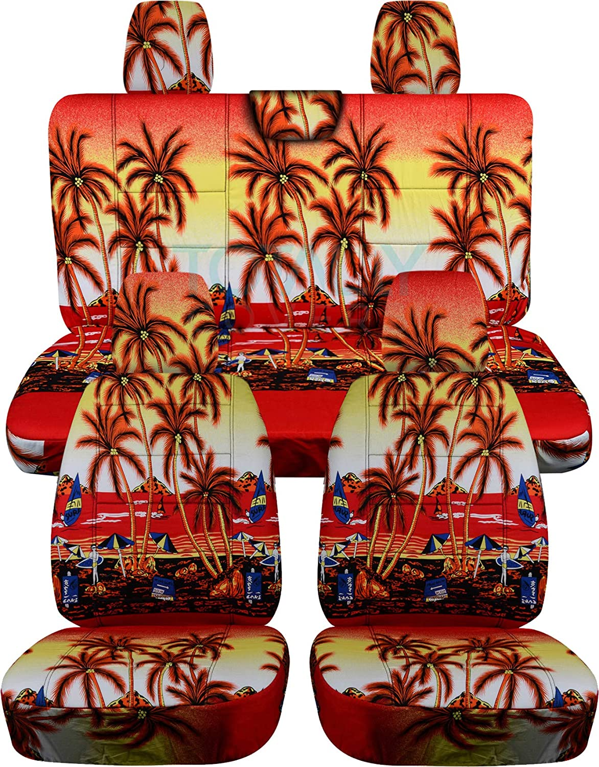Totally Covers Compatible with 2018-2020 Jeep Wrangler JL Hawaiian Seat Covers: Red w Palm Tree - Full Set: Front & Rear (4 Prints) 2-Door/4-Door Solid/Split Bench Back w/wo Armrest/Headrest