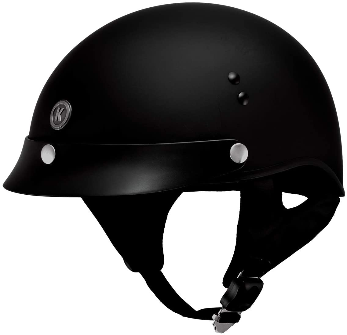 Klutch K-3 'Cruise' Flat Black Half Face Motorcycle Helmet with Snap On Visor - Medium