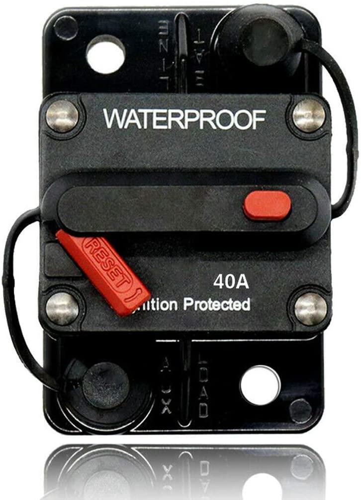 Ninjatoner 40 Amp Circuit Breaker with Manual Reset for Motor Auto Car Marine Boat Bike Stereo Audio 12V-42V DC, Waterproof (40A)