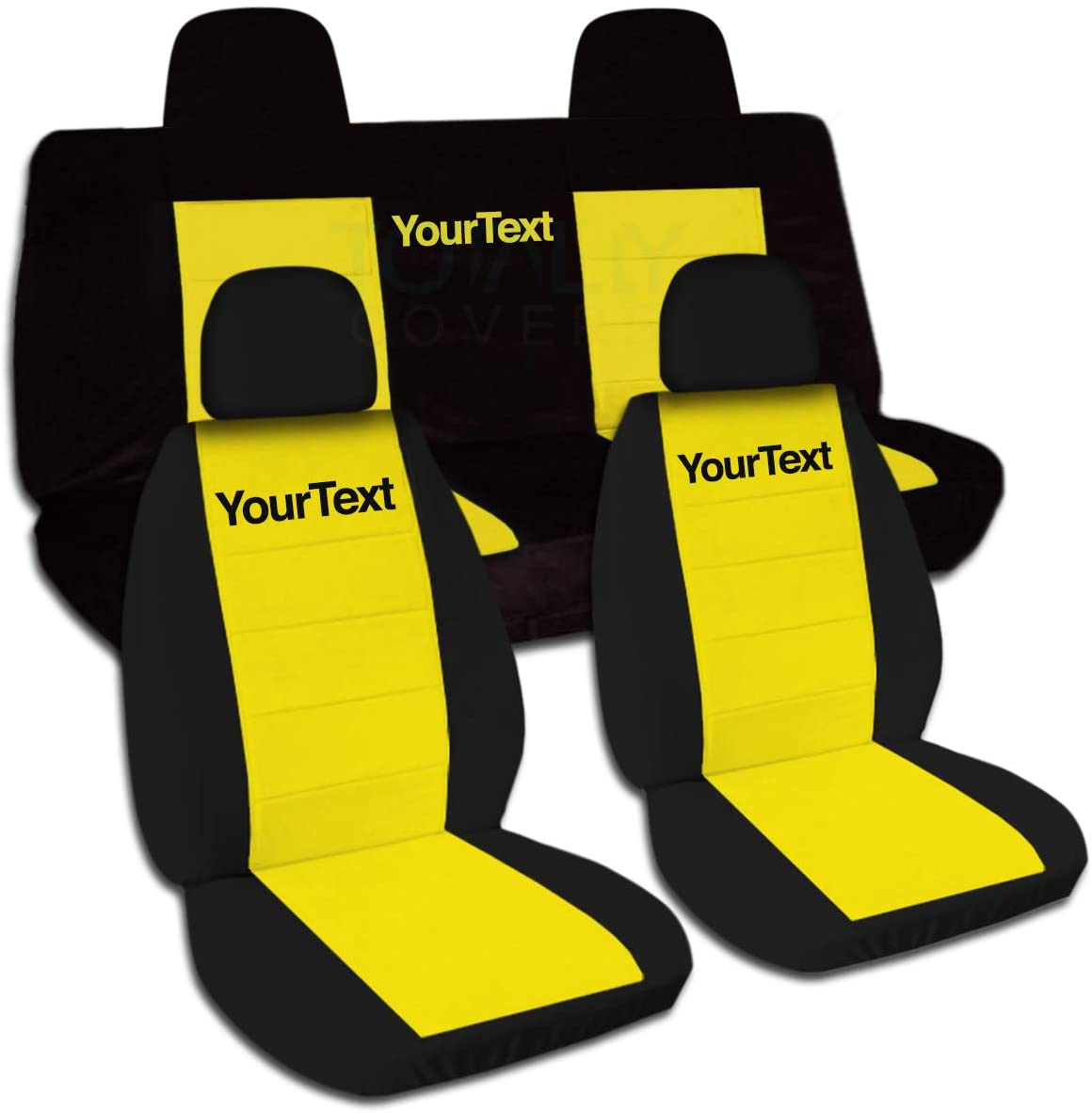 Totally Covers Compatible with 2007-2017 Jeep Compass/Patriot Two-Tone Seat Covers w Name/Text: Black & Yellow - Full Set Front Buckets & Split Rear Bench
