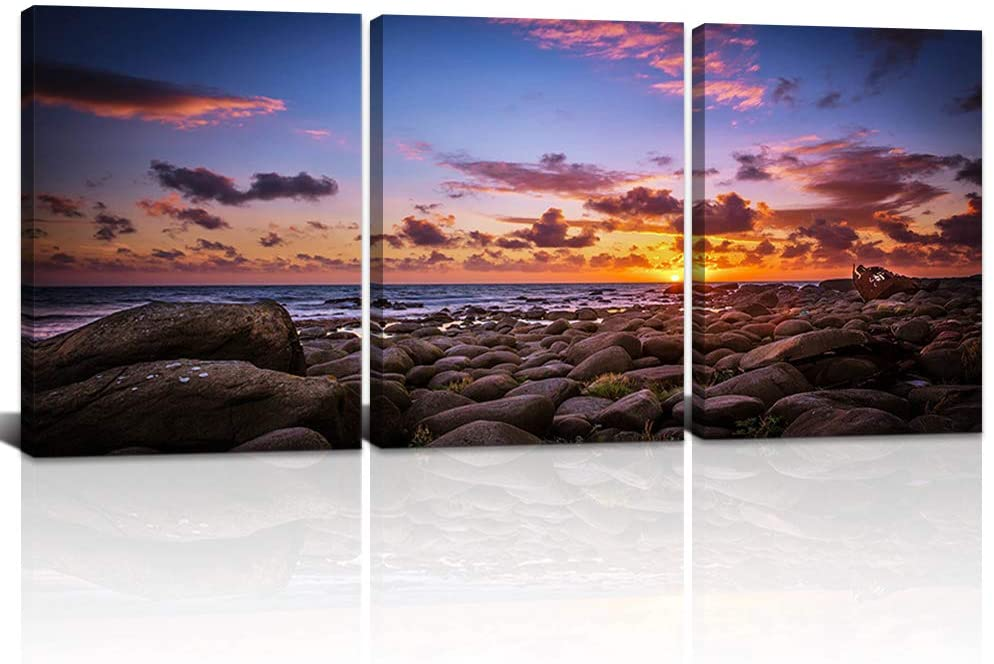 DekHome 3 Pieces Beach Sunset Canvas Wall Art Coastal Artwork Nature Pictures Giclee Prints Framed Ready to Hang for Bathroom Decoration 12x16x3pcs