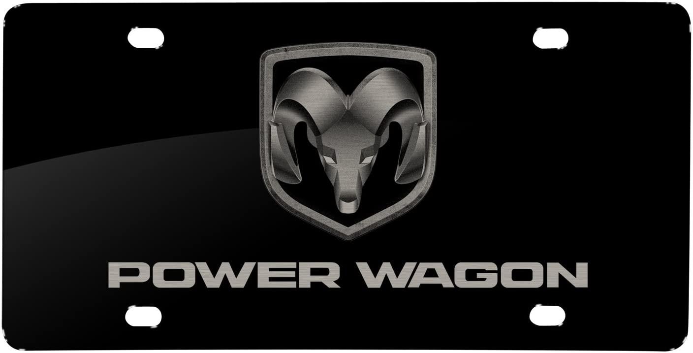 iPick Image Matt-Look Laser Mark Black Acrylic License Plate RAM-1500 - RAM Power Wagon