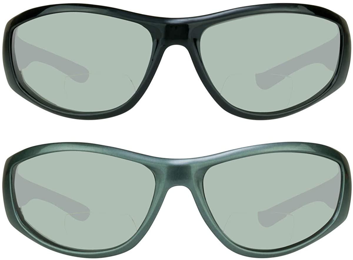 proSPORT Bifocal Sunglasses Mirror Mens Wraparound Nearly Invisible Reader Line