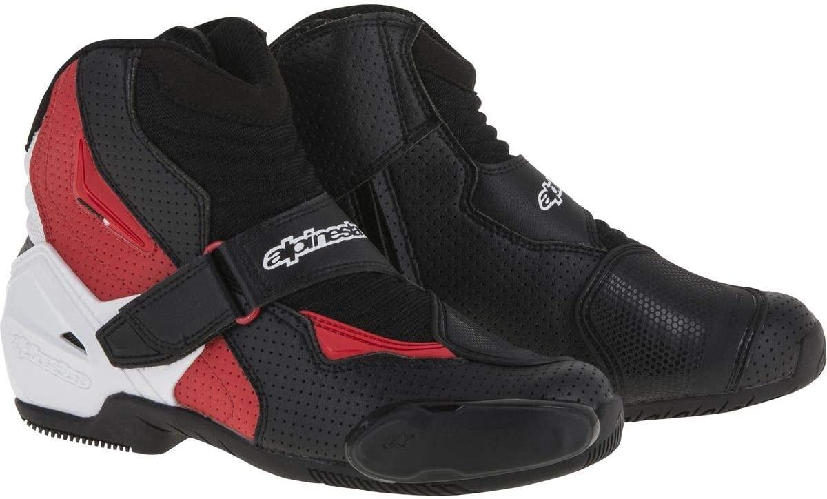 Alpinestars Men's SMX-1 R Vented Street Motorcycle Boot, Black/White/Red, 44