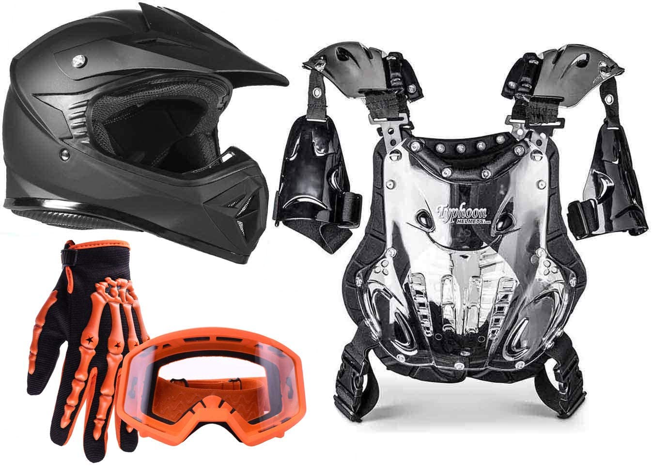 Typhoon Kids Pee Wee Offroad Helmet Gloves Goggles and Chest Protector GEAR COMBO Orange, Matte Black (small)