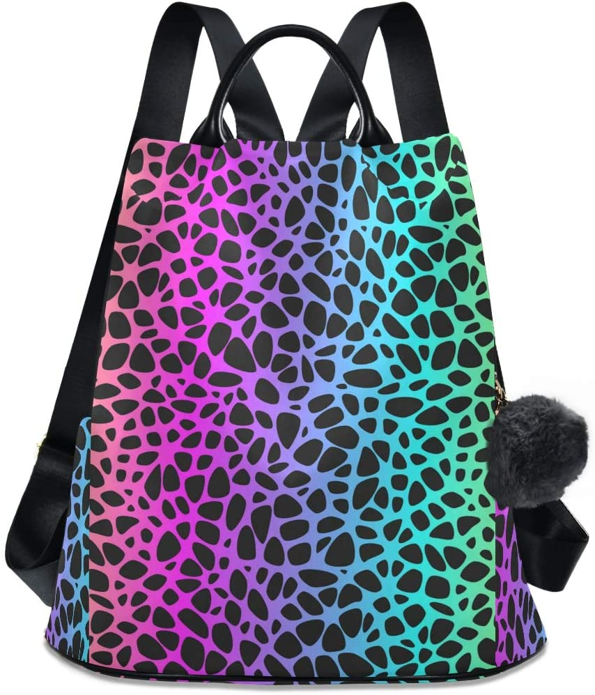 ALAZA Rainbow Leopard Backpack with Keychain for Woman Ladies