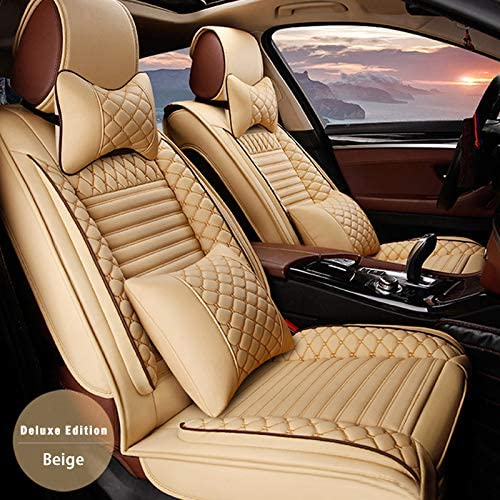 Leather Car Seat Covers For Dodge RAM 1500(only fit some of them) Leatherette Automotive Vehicle Ultra Comfort Cushion Cover for SEAT Of Driving/Co-pilot 2-SEAT With headrest Beige