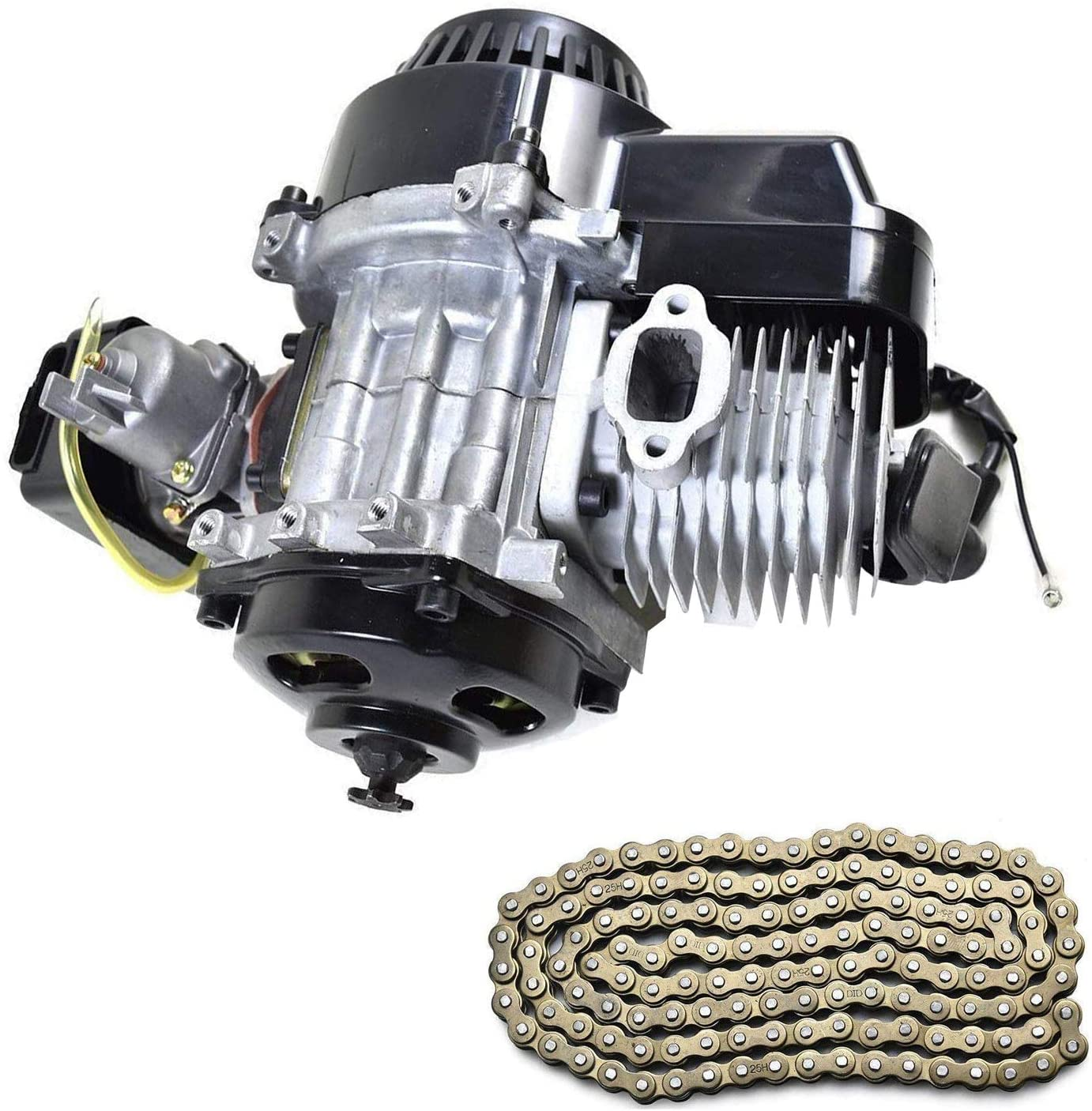 TDPRO 47cc 49cc 2-Stroke Engine Motor and 25H 136L Chain for Mini Pocket Bike Scooter Dirt Bikes ATV Quad Motorized Bicycle