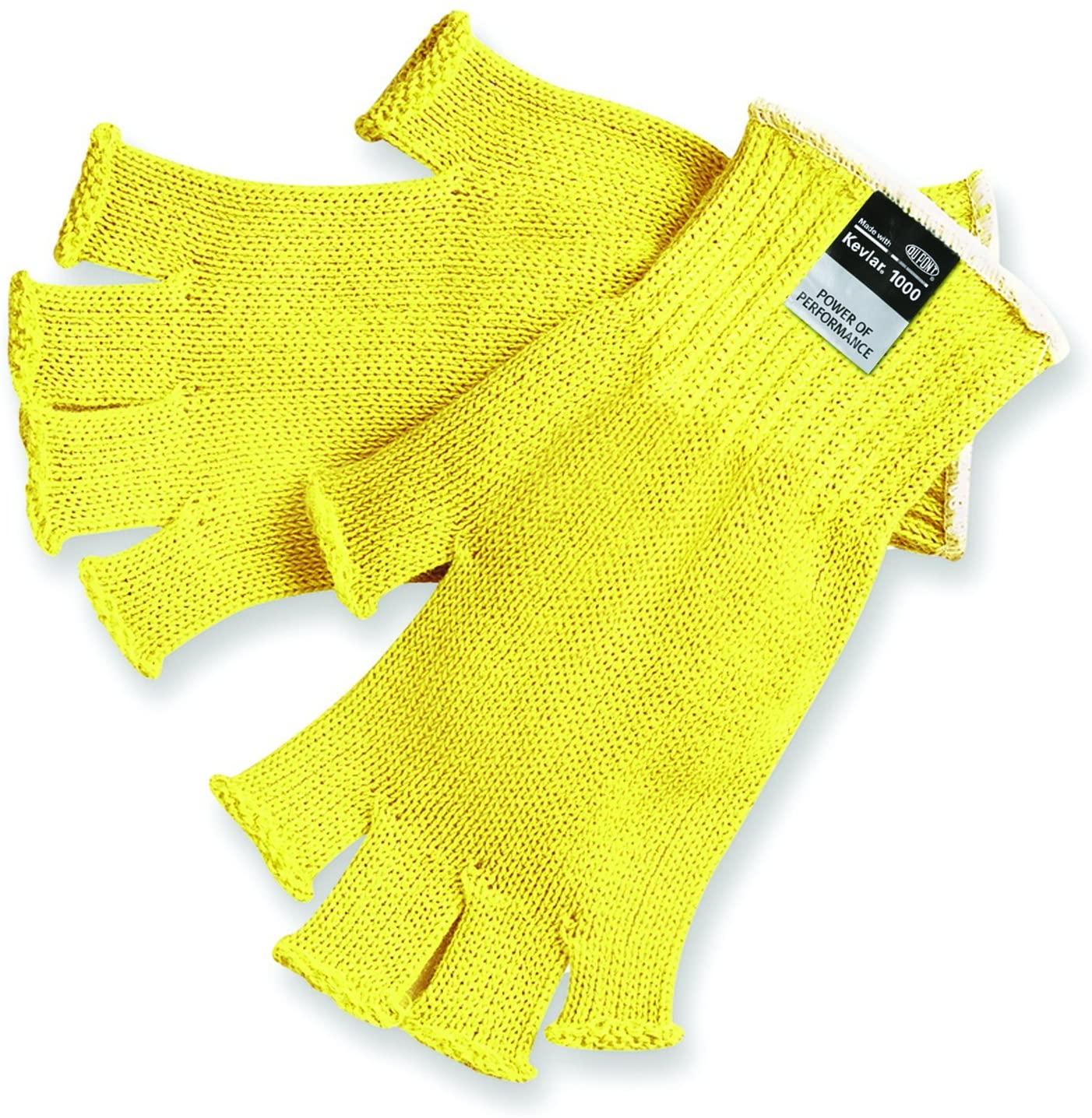 MCR Safety 9373XL Kevlar Regular Weight 7 Gauge Fingerless Gloves, Yellow, X-Large, 1-Pair