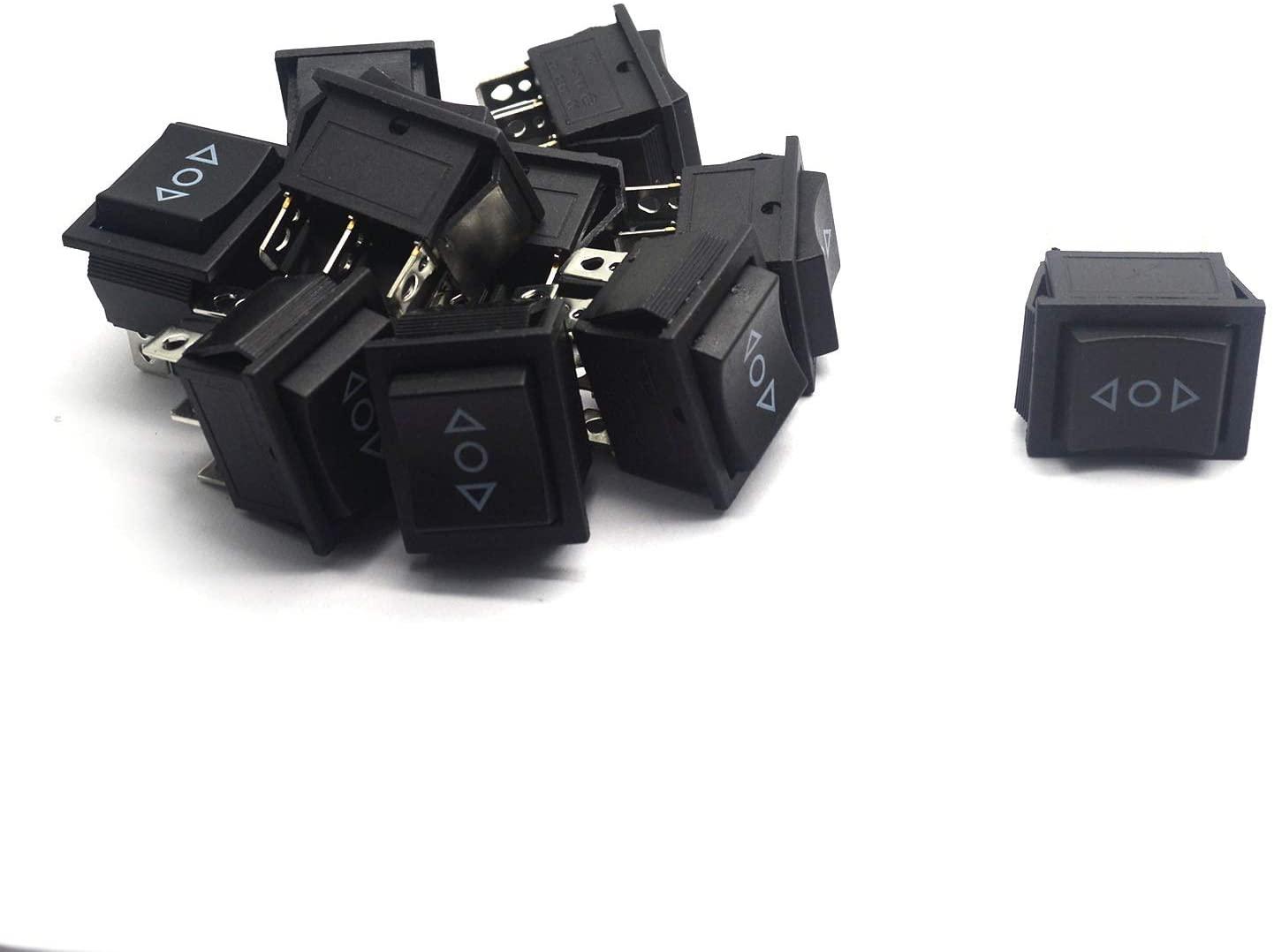 Karcy 3 Position 6 Pin Boat Rocker Switch ON/Off/ON DPST 16A/250V AC Rocker Power Switch Black 20A/125V AC Pack of 10