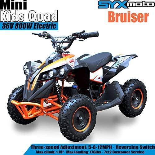 SYX MOTO Bruiser Kids Mini ATV 36V 800W Dirt Quad Electric Four-Wheeled Off-Road Vehicle, 5-7.5-12.5mph, with Reversing Switch, Orange