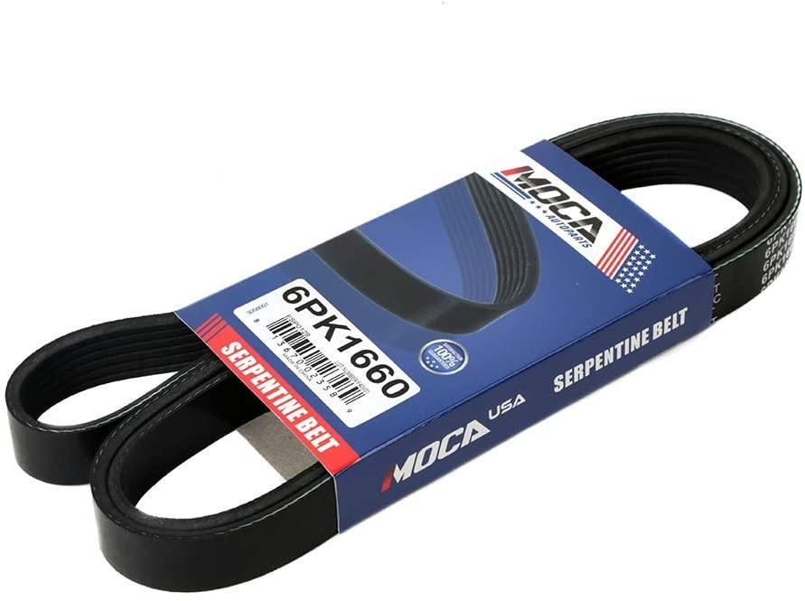 MOCA 6PK1660 EPDM Serpentine Belt Professional V-Ribbed Compatible with 99-00 Buick Regal 3.8L V6 & 99-03 Volkswagen Beetle 1.9L L4 & 98-04 Volkswagen Jetta 1.9L & 97 Volkswagen Passat 1.9L L4