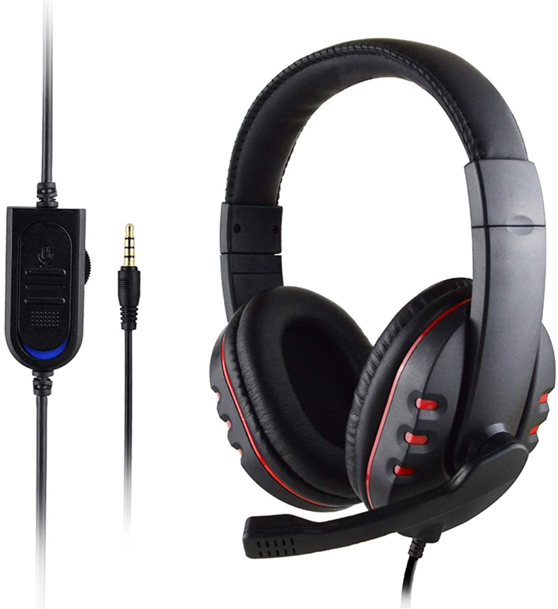 Stereo Gaming Headset with Mic for Xbox One/PS4, Over-Ear PC Headphones Low Bass Sound, 3.5 mm Audio Jack, Volume Control, for PS4 / Xbox One S/Xbox One/Nintendo Switch