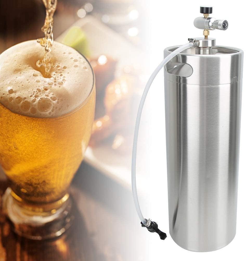 Homebrew Beer Keg,10L 304 Stainless Steel Home Brewing Keg Spear Tap Pressure Gauge with Screw Cap