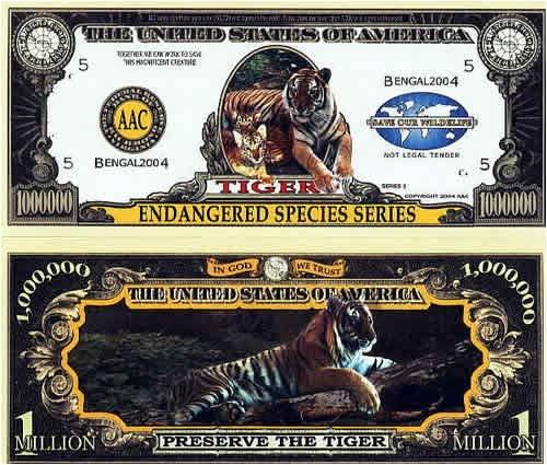 Set of 10 Bills-Endangered Tiger Million Dollar Bill