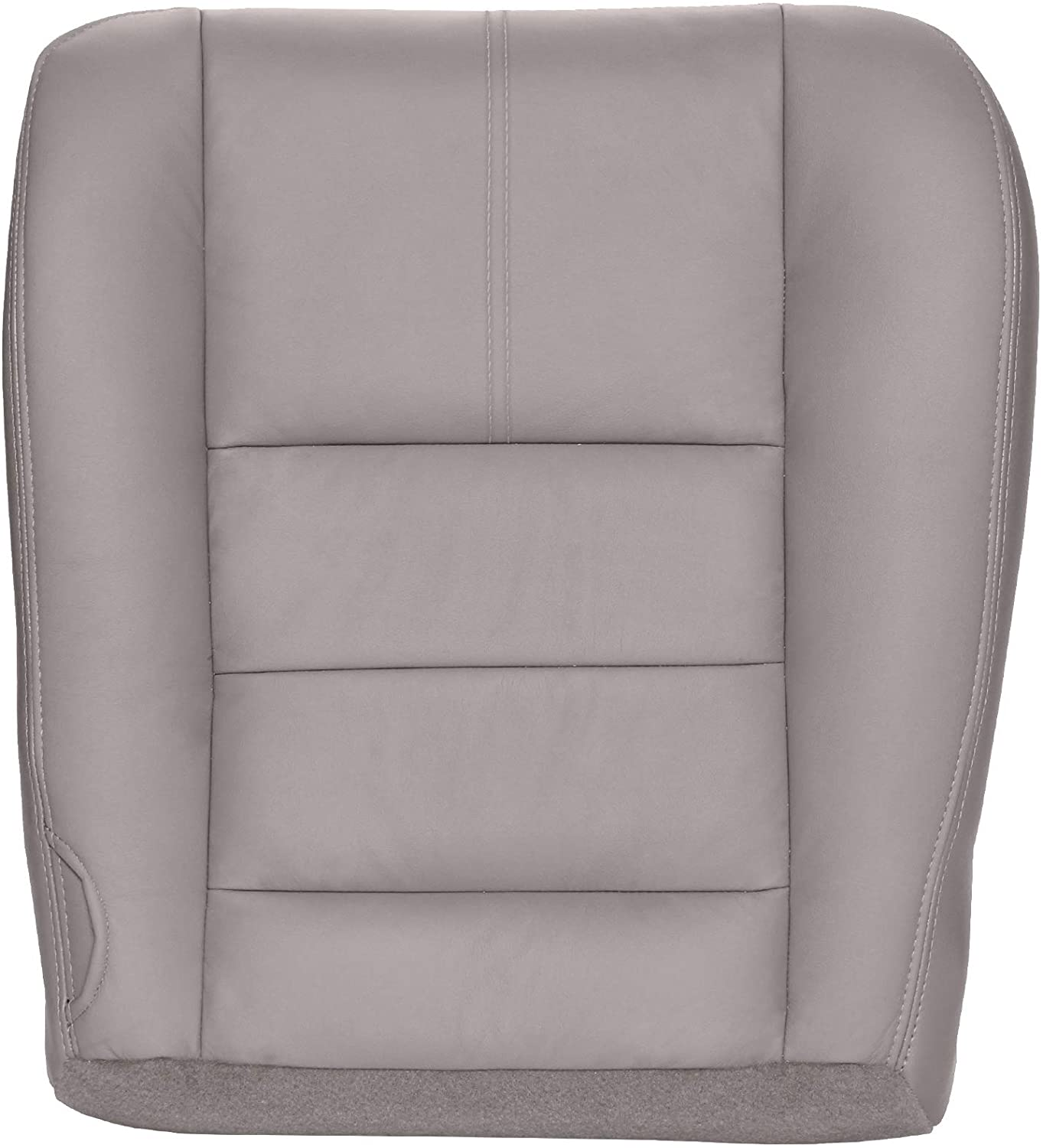 The Seat Shop Passenger Bottom Replacement Leather Seat Cover - Medium Stone Gray (Compatible with 2008-2010 Ford F250 and F350 Super Duty Lariat and XLT)
