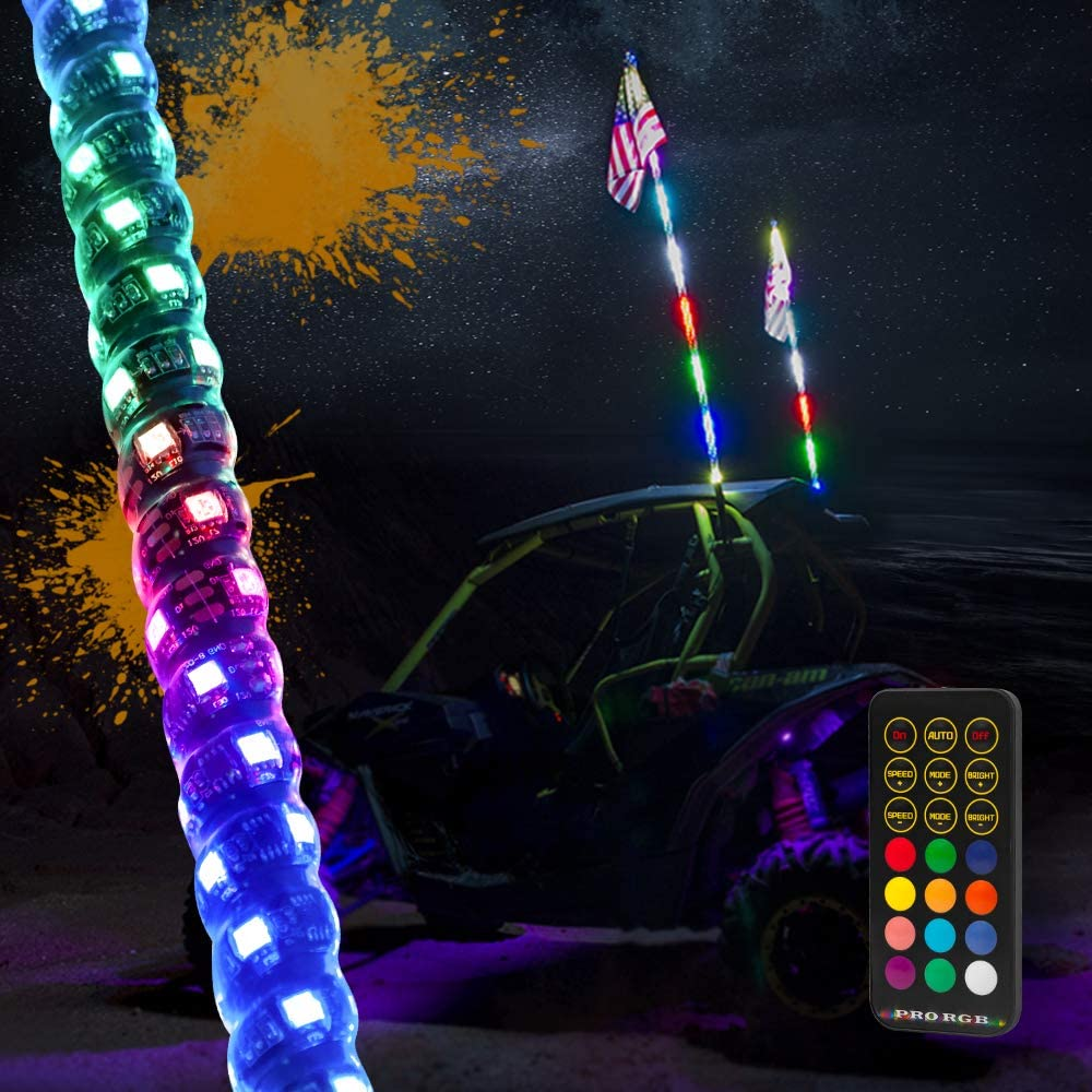 MAXHAWK 4ft LED Whip Light 360° Spiral Chasing/Dancing Lighted Antenna RGB LED Whips with Flag RF Remote Control for UTV ATV Off Road Truck Sand Buggy Dune Quad 4X4 Boat