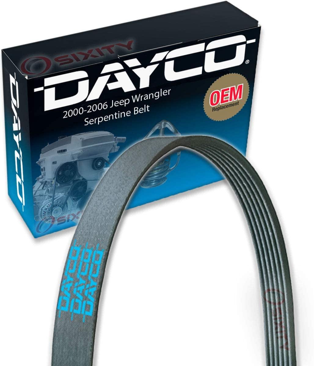 Dayco Serpentine Belt for 2000-2006 Jeep Wrangler 4.0L L6 - V Belt Ribbed Accessory Drive