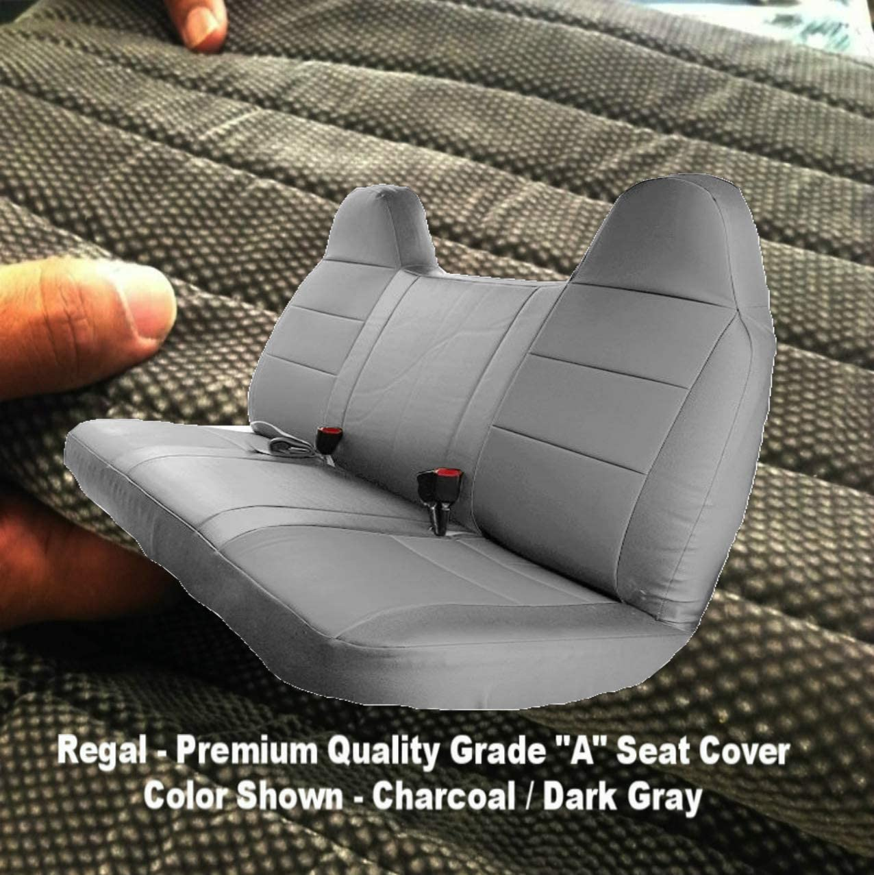 RealSeatCovers 3 Layer for 1992-2010 Ford F-Series F150 - F550 Pickup Truck Front Solid Bench 10mm Thick F23 High Back Belt Cut Out Custom Made Fit (Dark Gray)