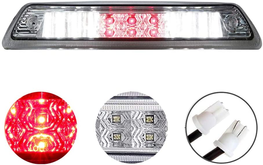 High Mount 3rd Stop Light Assemblies, For 2009-2014 Ford F150 Third Center Cargo Reverse Rear LED Brake Light Bar Taillight Two Rows (Chrome)